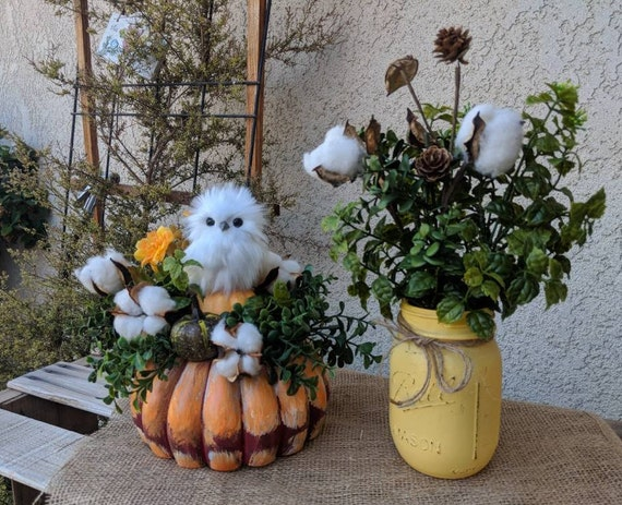 Owl Floral Piece with Cotton & Eucalyptus~Owl gift~Hand painted gourd~owl centerpiece~Owl table decor~ready to ship @ ApronStringsOwlLady