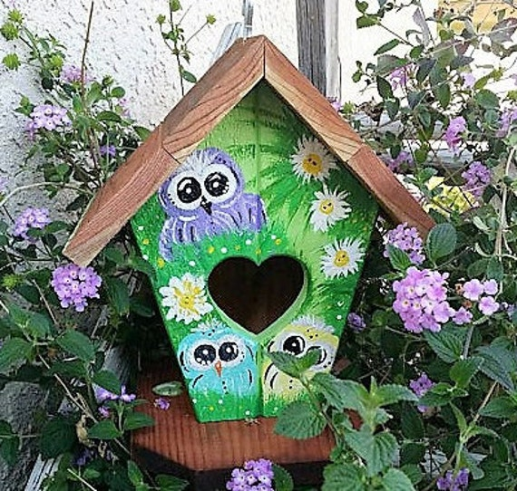 Owl Birdhouse-Hand Painted-Owl Yard Art-Birdhouse-Owl-Bird House-Outdoor birdhouse-Custom Owl Gift Made to Order @ ApronStringsOwlLady