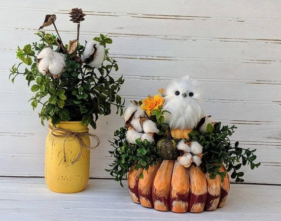 Owl Decor Gourd - Mason Jar with Cotton - Owl Autumn Table Decor ~ Painted wooden gourd~ Country decor - ready to ship @ ApronStringsOwlLady