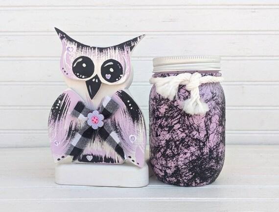 Owl Home Decor - Marbled Mason Jar, Unique, Storage Jar, Hand crafted, Cute Owl Gift, Purple, Black - Ready to Ship @ ApronStringsOwlLady
