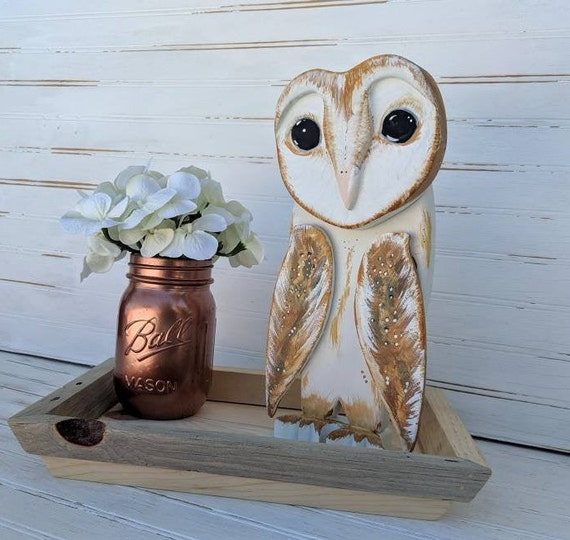 Wooden Barn Owl, Rustic Home Decor, Handcrafted Natural wood,  Accessory Tray, Primitive Owl Gifts ready to ship@ApronStringsOwlLady
