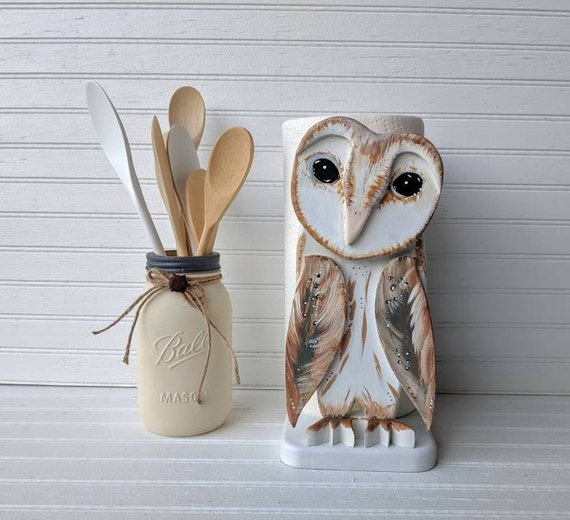 Paper Towel Holder, Barn Owl  -Handcrafted Owl Decor - Owl Art - Barn Owl - Woodland Cottage Art - Farmhouse Decor - Country Cottage Decor