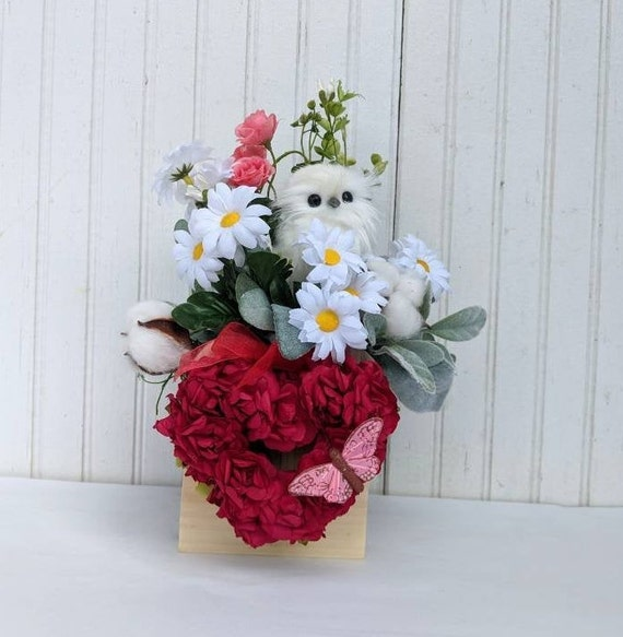 Red Heart Table Decor -Owl & butterfly Accent- Holiday decor Ready to ship @ ApronStringsOwlLady