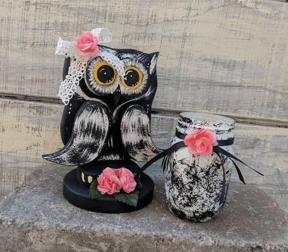 Wooden Owl Gift Set-Black Owl Decor-Hand painted-Unique Gift-Marbled Mason Jar-Bird decor-Owl Office Ready to Ship @ ApronStingsOwlLady