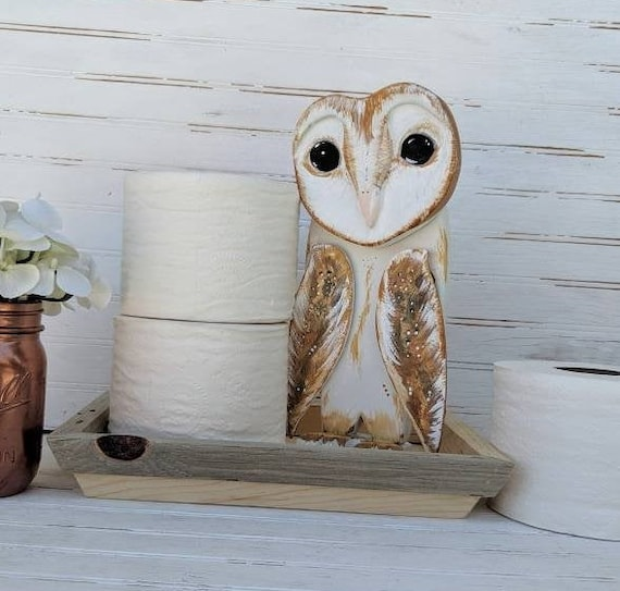 Wooden Barn Owl -Rustic, ooak, handcrafted-painted Owl, wooden, woodland, farmhouse, cottage, unique ready to ship@ApronStringsOwlLady