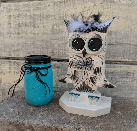 Teal and Black Owl Decor-Owl Desk Set-Cute Owl gift-Wooden Owl-Owl office- Hand Crafted Painted Ready to Ship Owl Gift @ ApronStringsOwlLady