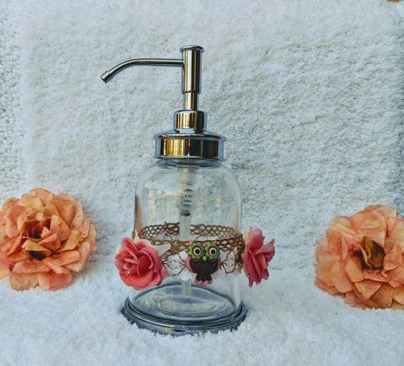 Cute Owl Soap Dispenser-Adorable Owl Gift-Little Girls Room Decor-IKEA New Glass Soap dispenser-Tulle Bow & Owl Button @ApronStringsOwlLady