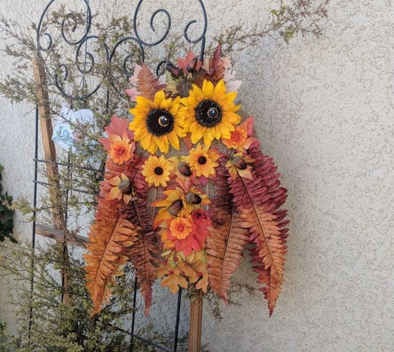 Owl Wreath,Fall Decoration,Beautiful Sunflower Autumn Harvest Decor,Wild Birds of Nature Colorful,October gifts,Hostess Thanksgiving gift