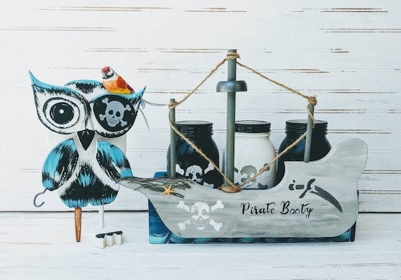 Wooden Bank, Hand Painted Owl Bank  - Mason Jar Decor - Owl Decor - Woodland Cottage - Cottage Art -  Pirate Ship Decor
