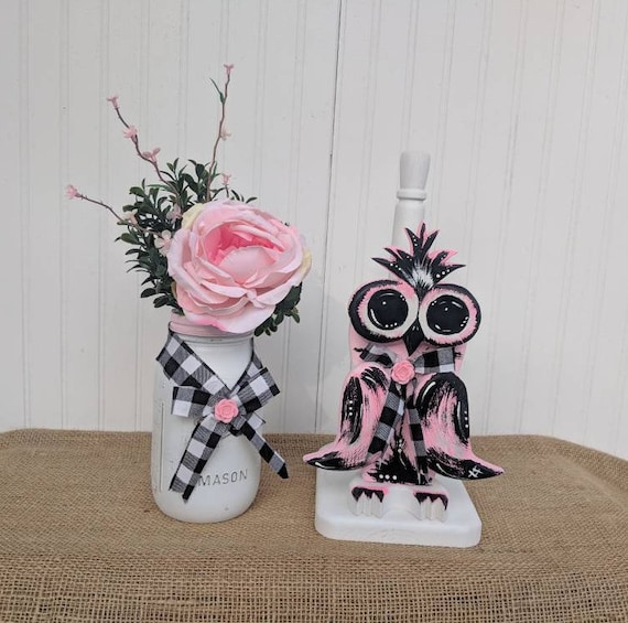 Owls- Paper Towel Holder, Owl Kitchen Decor,Wooden Owl, Bathroom Tissue Storage,Black & Pink, Owl,Cute Owl Gifts