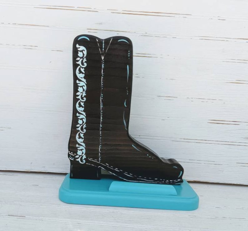 11460407afb Turquoise Cowboy Boot Business Card Holder- Cell Phone holder - Front Desk  decor -Ready to Ship @ ApronStringsOwlLady