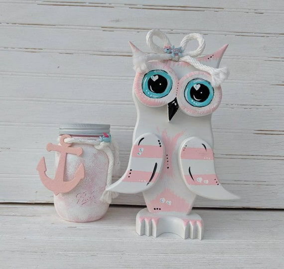 Owl Home Decor- Pink and White Owl - Kitchen, Bath or desk accessory - Country Cottage Decor ready to ship @ApronStringsOwlLady