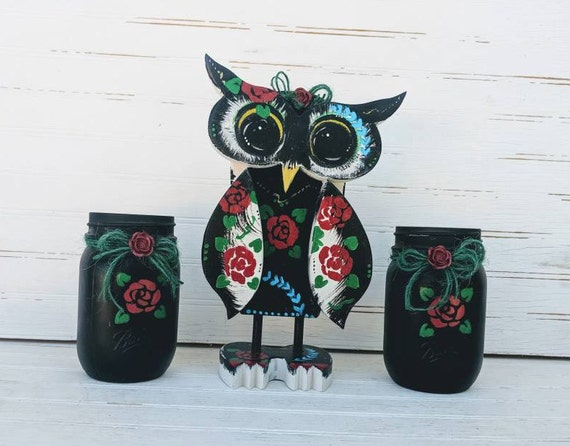 Painted Wooden Owl - Owl Home Decor - Red and Black Owl Art -Tattooed Owl wooden owl- Country Cottage Decor - Unique Wooden Gift