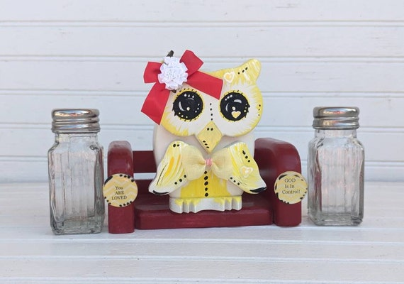 Owl Salt & Pepper Set, Gifts for the Kitchen, Owl Lover Gifts, handcrafted, hand painted, very cute - ready to ship @ ApronStringsOwlLady