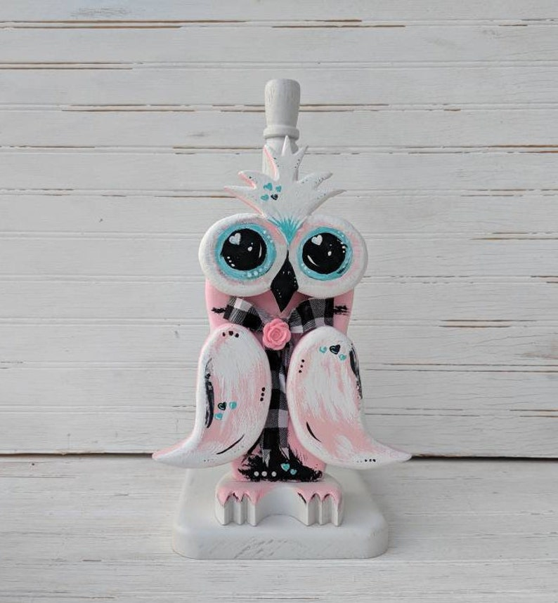 Beautiful Pink Owl Paper Towel Holder Unique Owl Gifts Country Bath Decor Owl Home Decor Ready to Ship @ ApronStringsOwlLady