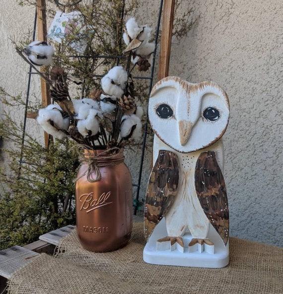 Wooden Barn Owl~Owl Fall Centerpiece~Cotton Stalk Decor~Woodland Centerpiece~Farmland Decor~Original Art Ready to Ship @ApronStringsOwlLady