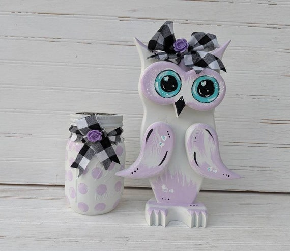 Hand Painted Wooden Owl Set - Baby Nursery - Lilac - Lavender - bathroom - desk set - Cute Owl Gifts ready to ship @apronstringsowllady