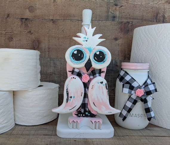 Paper Towel Holder, Pink Wooden Owl - Kitchen Paper Storage - Bathroom Toilet Paper Holder -Farmhouse Country Cottage Owl ready to ship now