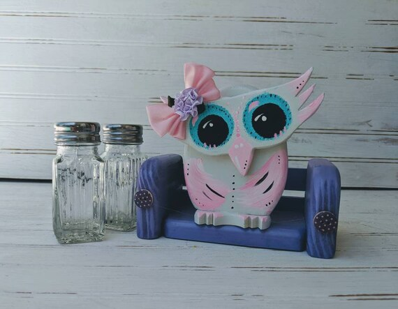 Salt & Pepper Shakers -Hand painted wooden Owl -  coworker or teacher gift, kitchen decor, cute pink owl ready to ship @ ApronStringsOwlLady