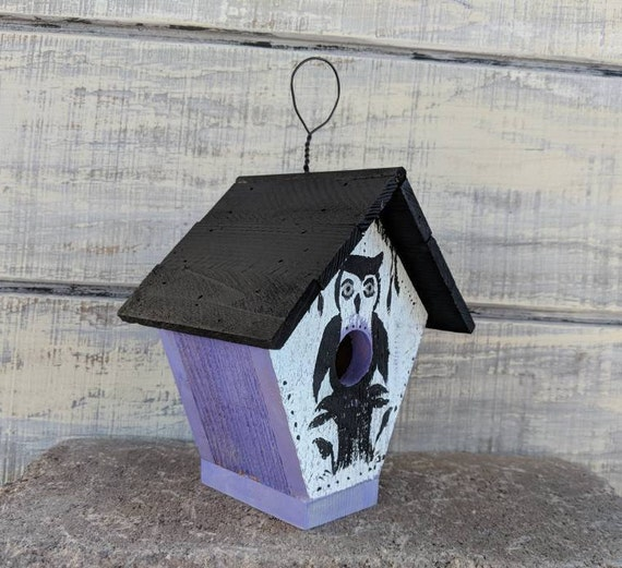 Small Wooden Outdoor Birdhouse - Rustic Owl theme -Purple & Black -Hangs on wire - Gifts under 25 @ApronStringsOwlLady