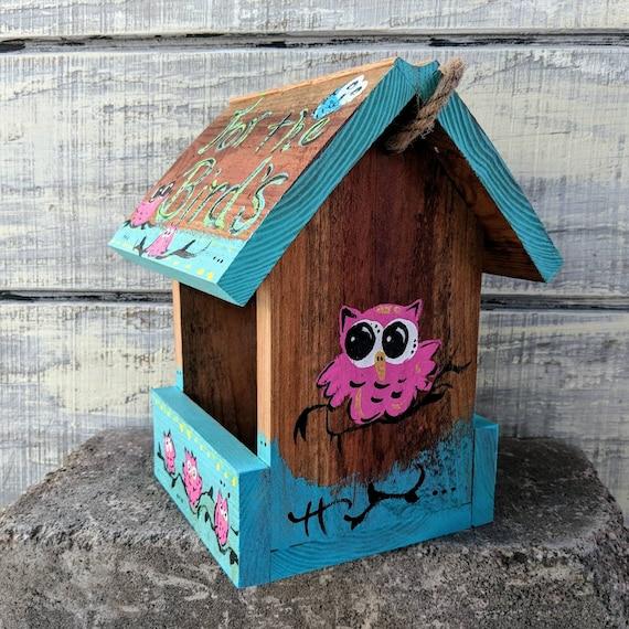 Hanging Bird Feeder/Owl/Painted Redwood/Birdhouse/birdhouses/Garden Decor/Bird/Outdoor/Hanging Wooden/Birdfeeder/Birds/Yard Art/Garden Gifts