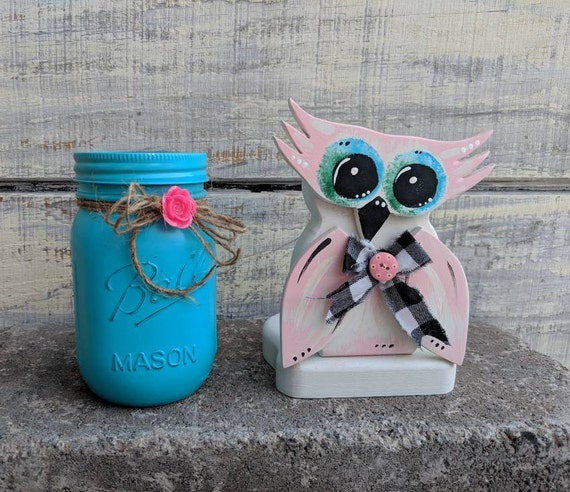 Owl Gifts, Owl Desk Set, Owl artwork, Owl Decoration, Owl Gifts for Girl, Gifts for Women Ready to Ship @ ApronStringsOwlLady