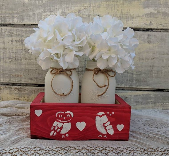Owl Gift Box-Mason Jar Kitchen Decor-Cute Owl Gifts-Red Owl Kitchen-Owl Vase Set-Mason Jar Canister Set Ready to Ship @ ApronStringsOwlLady