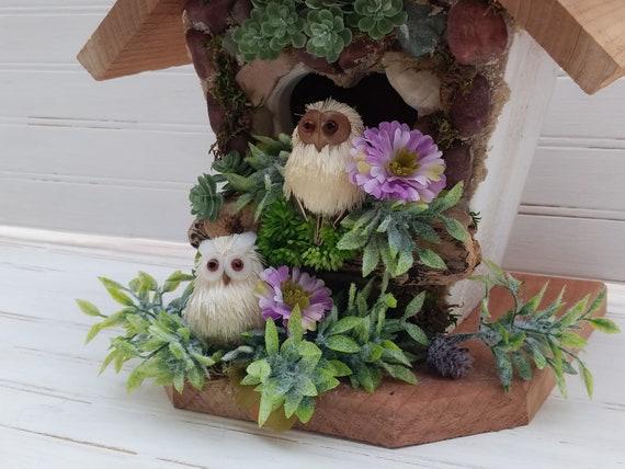 Decorative Stone Birdhouse, Succulent Owl Birdhouse -Woodland Cottage - Cottage Art - Farmhouse Decor - Country Cottage Decor