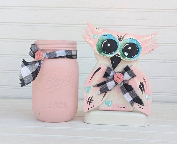 Owl Home Decor - Pink Mason Jar, Unique, Hand painted, Utility Jar, Cute Owl Gift, Pink, Black & White - Ready to Ship @ ApronStringsOwlLady