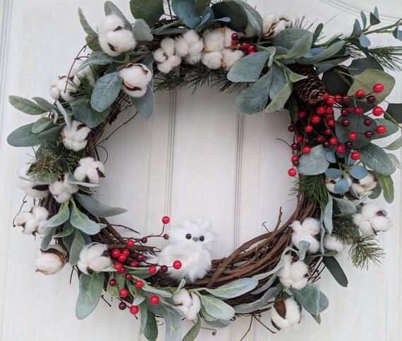 Rustic Cabin Front Door Wreath-White Owl Wreath-Cotton-Lambs Ear~Woodsy Door Decor~Owl Wall Decor-  @ApronStringsOwlLady