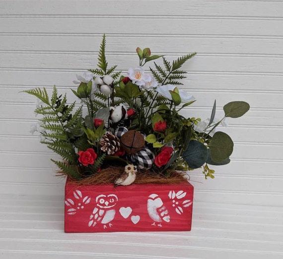 Woodland Owl Table Decor - Owl Floral box - Owl Art - Woodland Cottage - Cottage table- Farmhouse Decor - Country Cottage Decor