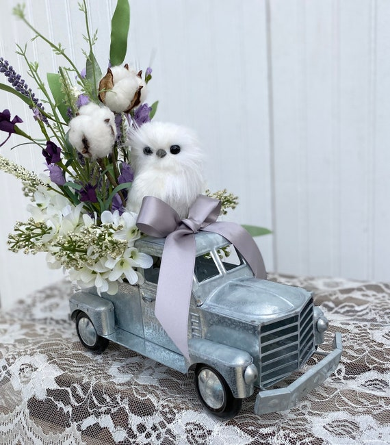 Metal Fresh Flowers pickup with Owl Floral, teal, Eucalyptus and white floral and adorable white owl Ready to ship @ ApronStringsOwlLady