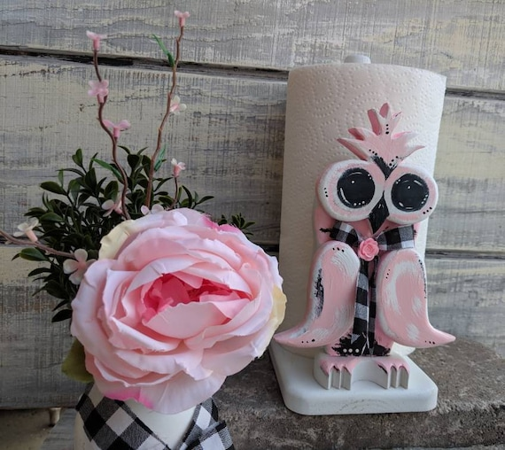 Owl Gifts, Owl Paper Towel Holder, Owl artwork, Owl Decoration, Owl Gifts for Girl, Gifts for Women Ready to Ship @ ApronStringsOwlLady
