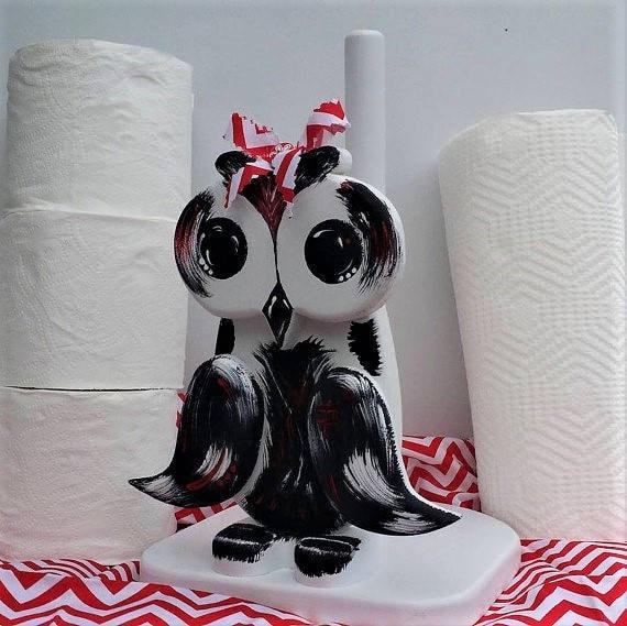 Owls, Paper Towel Holder, Owl Kitchen Decor,Wooden Owl, Bathroom Tissue Storage,Black & White, Owl,Woodsy, Cute Owl Gifts, Gift,Custom Decor
