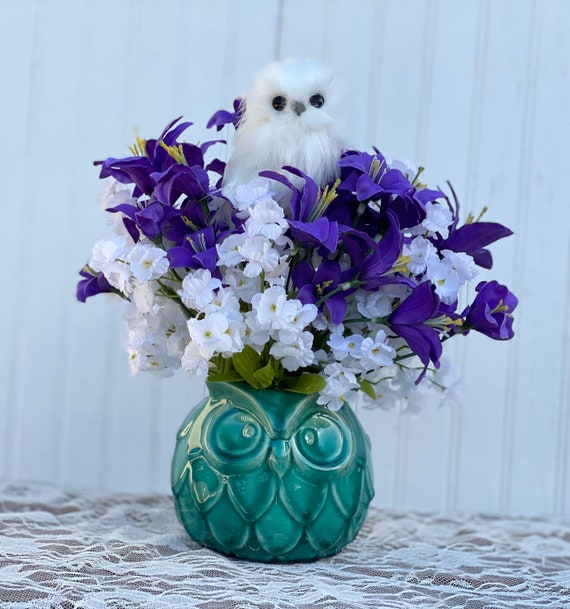 Lovely Teal Porcelain Owl Floral with White baby's breath and purple tiger lilies and adorable white owl Ready to ship @ ApronStringsOwlLady