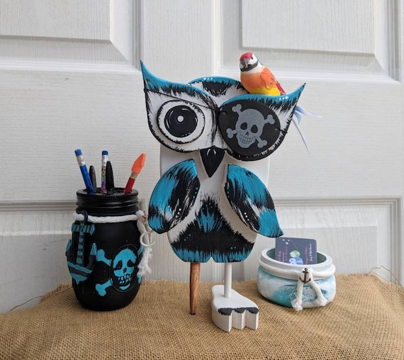Pirate Decorations, Wooden Owl Home Decor, Unique Owl Gift, One of a Kind & Hand painted ready to ship @ ApronStringsOwlLady