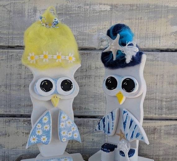 Wooden Painted Owl Set-Twins Nursery Decor -Boy girl twins decor, Owls, Trolls, boy, girl, cute owl gift READY TO SHOP @ ApronStringsOwlLady
