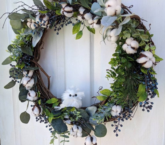 Farmhouse Owl Wreath for Front Door~Blue Berry & Lamb's Ear-Cotton Wreath~Owl Wall Decor and Gifts-Ready to Ship @ApronStringsOwlLady