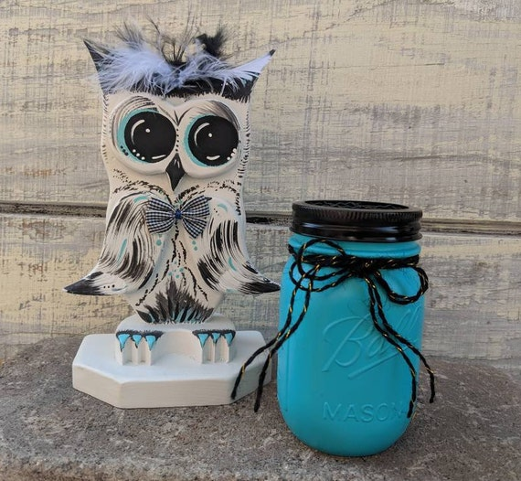 Wooden Owl Gift Set & Decor Teal and Black Ready to Ship @ ApronStringsOwlLady