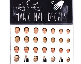 Nic Cage Nail Decals 2 Face Celebrity Wraps Art Nicolas