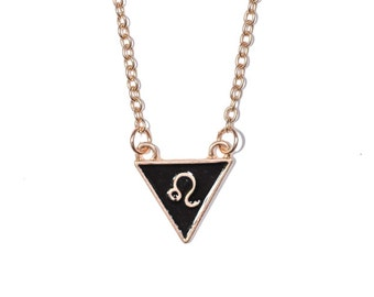Leo Triangle Necklace Gold Plated / Leo Necklace / Leo Symbol Necklace / Leo Zodiac Necklace / Leo Pendant Necklace / Dainty Leo Necklace