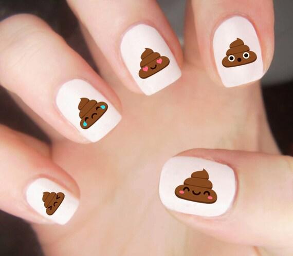 Poop Emoji Nail Decals Poop Nail Decals Emoji Nail Decals Etsy