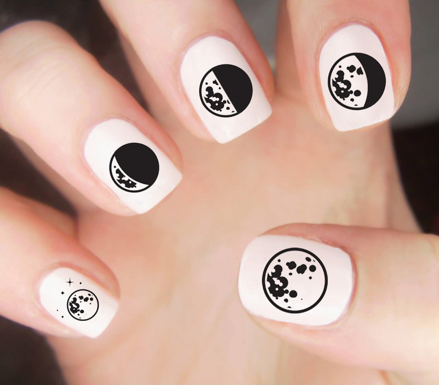 Moon Nail Decal / Space Nail Decals / Galaxy Nail Decal / Moon Phase ...