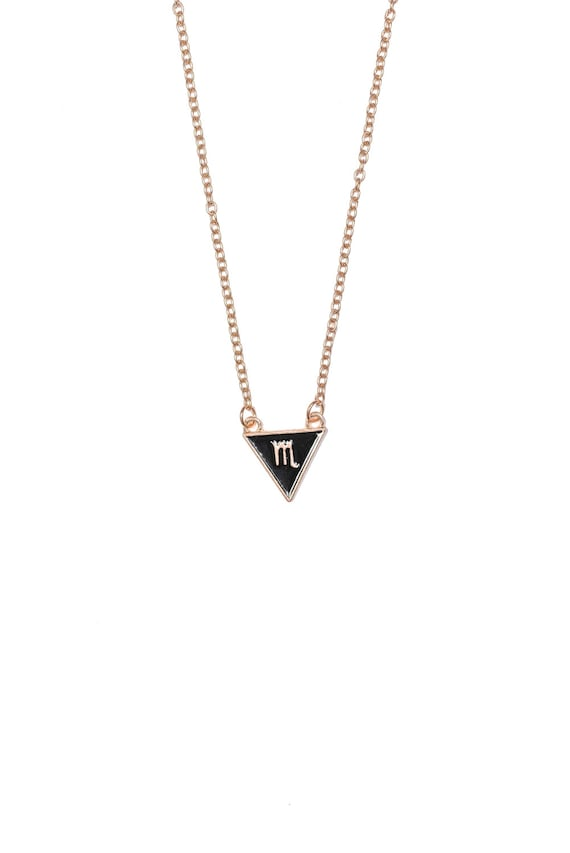 Scorpio Triangle Necklace Gold Plated Scorpio Symbol Etsy