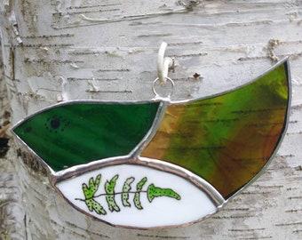 "Stained Glass Gift Green Floral Bird Suncatcher Wall Decor  ""Fern"""