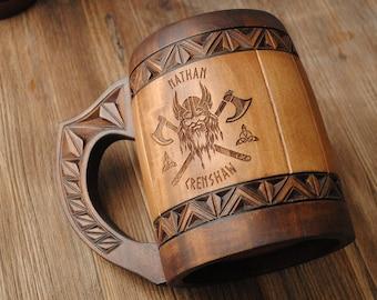 Dad gift viking wooden beer mug Groomsman mug Birthday Mens Gift 5 anniversary for him fathers day gift personalized wedding mug