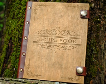 Free Personalized recipe book Wooden recipe journal Notebook recipes Custom cookbook Wood journal Valentine gift for her gift for mum