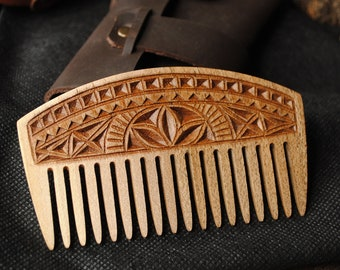 Beard comb personalized boyfriend brother gift wooden custom dad comb beard comb with leathre case men hair brush groom gift fathers day