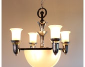 A3073 Antique Circa 1930's-1940's Era Art Deco, Moderne, Streamline, Machine Age Hanging Chandelier Light Fixture