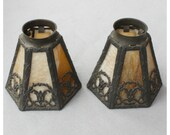 "S1066 Antique Cast Metal and Slag Glass Shades with 2 1/4"" fitter for wall sconces and pendant lights"